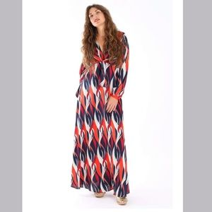 Aakaa Red & Blue Tie Front Maxi Dress Size Small